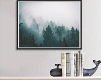 Forest Art Print Pine Trees in Fog Nature Decor, Landscape Printable, Large Wall Art Tree Print, Moody Art Teal Decor Digital Download