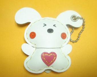 Fluffy the Rabbit Leather Keychain ( White )