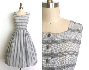 vintage 1950s dress | 50s peek a boo gingham dress