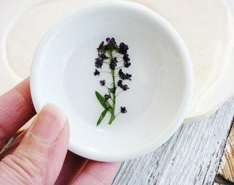 Purple Floral Ring Dish, Small Jewelry Organizer, Ring Dish, Nature Bowl, Trinket Holder, Naturalist Gift, Small Organizer
