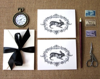 Rabbit Hare Note Cards Set of 10 with Matching Envelopes