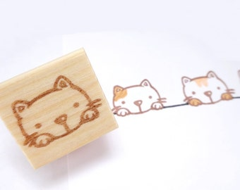 Rubber stamp, Cat rubber stamp, Kitty cute, Cat stamp, Kawaii cat, Animal stamp, Scrap booking, Cat gift idea, Animal gift idea, Pet lover