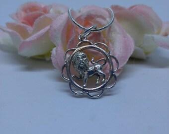 Sterling silver lion necklace vintage leo