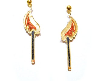 Colorful Glitter Lit Match FLAME Acrylic Earrings with Gold Tone Earring Posts // Earring Studs