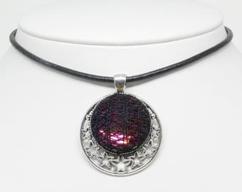 Bobbin Lace Moon and Stars Pendant: Rainbow Crystal with Black Silk Overlay, Complimentary Black Cord