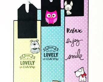 Set of 3 bookmarks with cats, dogs and owls - Book markers with cute animals - page markers for animal lovers - handmade gift