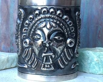Intriguing rare vintage tall sterling Mayan /Aztec cuff bracelet