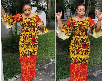 Yellow and Red African Print Dress