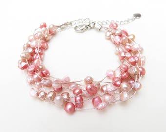 Pink freshwater pearl bracelet on silk thread, multi strand bracelet