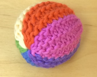 Knitted Waldorf Rainbow Ball