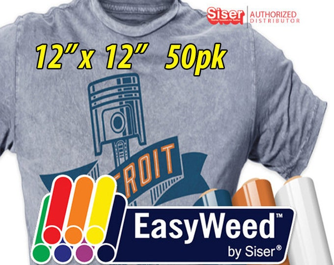 """12"""" * x 12"""" / 50-pk  Siser EasyWeed HTV - Heat Transfer Vinyl"""
