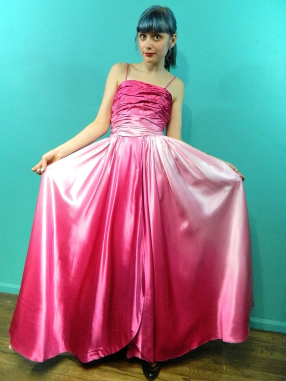 1950s Ombre Pink Satin Dress . Prom . cupcake wedding gown