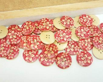 Painted Wood Sewing Buttons Flower Motif Design (25mm 6pcs set)