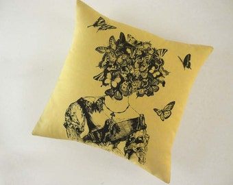 Moths and Butterflies silk screened cotton canvas throw pillow 18 inch pale yellow black