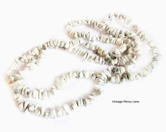 String of Howlite Nugget Beads, Gemstone Necklace