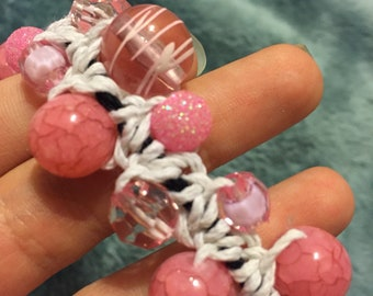 Pink Woven and Beaded Bracelet