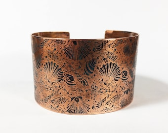 Etched Copper Seashell Cuff, Wide Copper Cuff, Shells Bracelet  - Free Domestic Shipping