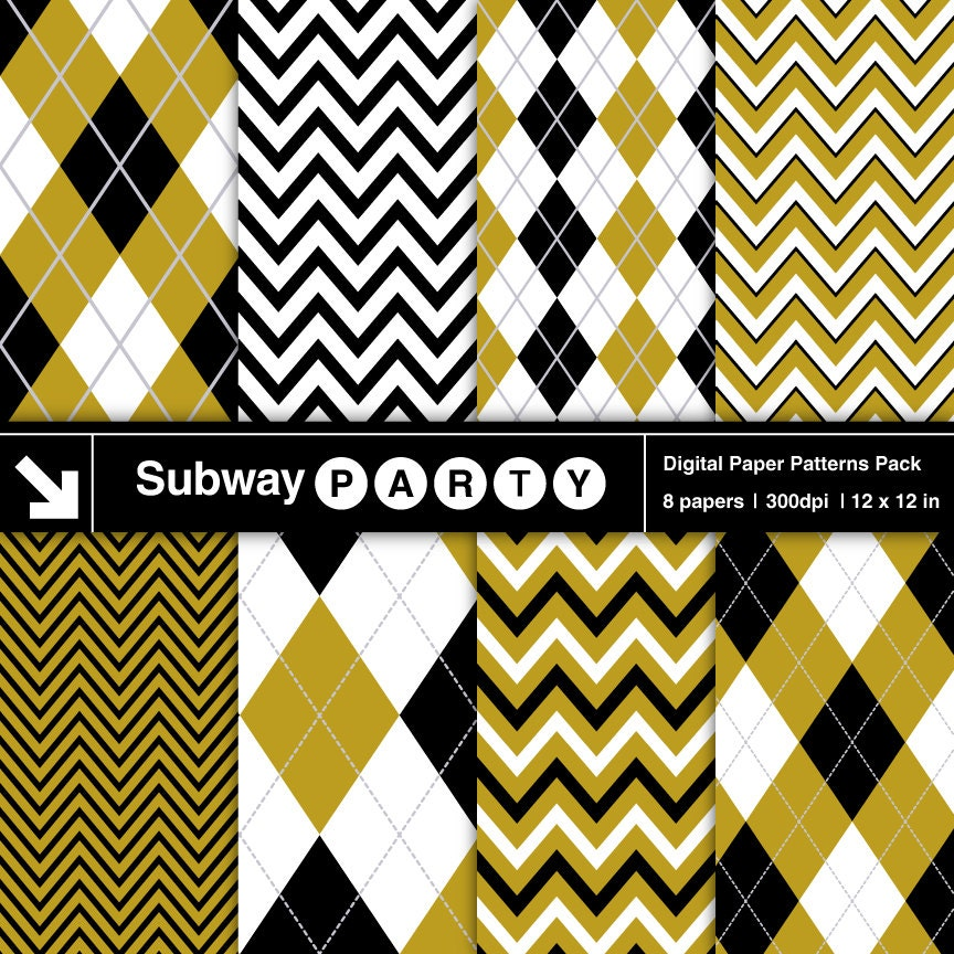 Gold Black and White Chevron and Argyle Digital Papers Pack.