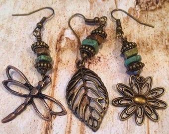 Turquoise Boho Earrings, Boho Leaf with turquoise chip earrings, bronze, Turquoise Dangle Earrings, Rustic Boho Earrings, gift for her