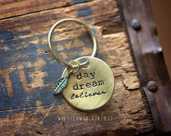 Daydream Believer hand stamped keychain | boho bohemian feather gift