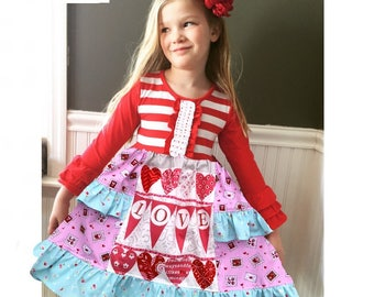 Girls Valentine's Day dress Momi boutique custom dress