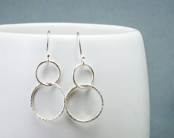 Interlocking Circle Earrings - Silver Open Circle Earrings - Geometric Earring Gift for Her - Ready to Ship