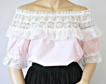 Vintage Peasant Blouse Pastel Pink Lace Square Dance Gypsy South Western Size Medium