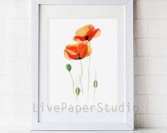 Red Poppies print, Abstract Flower Painting, Watercolor Floral Botanical Poster, Poppy Home Decor, Flowers Art Print, Red Poppies Painting