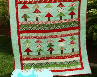 PDF Quilt Pattern / Modern/ Easy / Christmas Forest