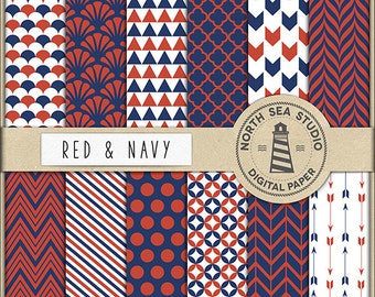 Red And Navy Digital Paper Pack   Scrapbook Paper   Printable Backgrounds   12 JPG, 300dpi Files   BUY5FOR8