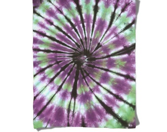 Fleece Blanket-Green Purple Black-Tie Dye Blanket-Winter Cozy Warm-Decorative Fleece Blanket-Baby Blanket-Medium Large Blanket