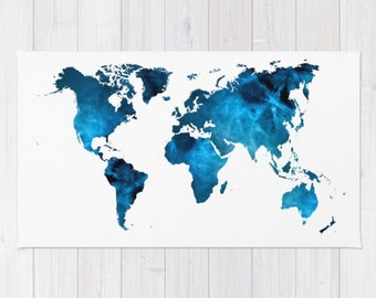 World map rug etsy world map striking blue floor rug throw woven rectangle home dorm apartment decor continents africa united gumiabroncs Image collections
