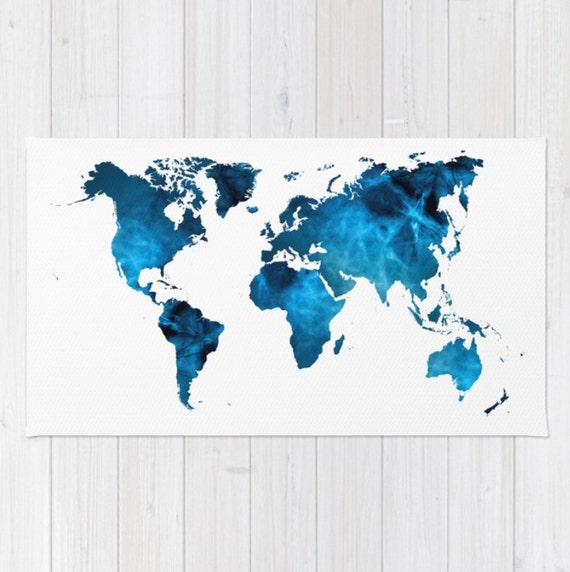 World map striking blue floor rug throw woven rectangle home like this item gumiabroncs Gallery