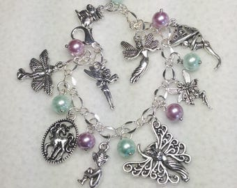 FREE Ship!  Fairies and Pizies Charm Bracelet.  Fairies. Pixies. Gnomes. Charm Bracelet. Bracelet