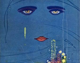 "Vintage Book Cover Print ""The Great Gatsby"" - F Scott Fitzgerald - 1920s Flapper Art - Classic Book Art Print - Literary Aft"