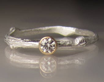 Forever Brilliant Moissanite Twig Ring - Moissanite Engagement Ring, Sterling Silver and 14k Yellow Gold