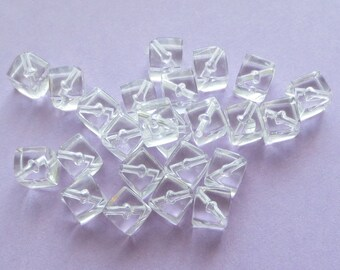 Acrylic Cube Beads - Crystal Clear - 7mm - 50 pcs