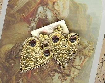 Wonderfully Celtic Druid Medieval symbolled  Garnet and Gold 1970 Heart Shield Dangle Earrings