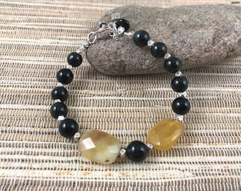 African Yellow Opal, Black Onyx and Karen Hill Tribe Sterling Silver Beaded Bracelet