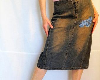 Jean skirt midi long pencil skirt midi vintage pencil skirt faded denim skirt retro vintage blue 1990s 90s NEW vintage dead stock