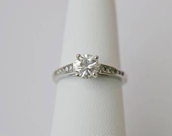 Diamond engagement ring in platinum .85ct