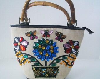 Vintage Braciano Jeweled Bucket bag/Purse Enid Collins Style