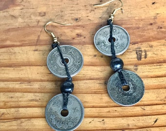 Double Old Coins Macrame Earrings