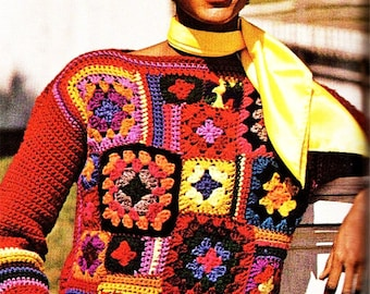 Vintage Patchwork Granny Squares Sweater - Vintage Crochet Pattern - PDF Instant Download - Pullover Squares Sweater - Digital Pattern