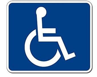 X-Large Blue Handicap Wheelchair Access Sign Sticker