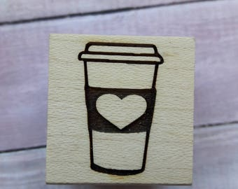Small Coffee Cup Wood Mounted Rubber Stamp Scrapbooking & Paper Craft Supplies