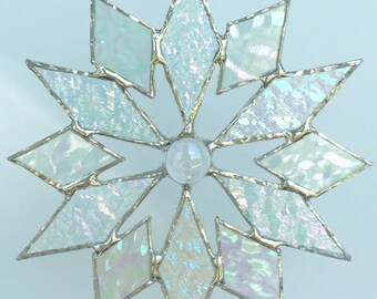stained glass snowflake suncatcher (design 4C)