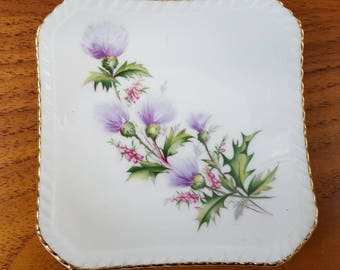 Small Square Thistle Dish, Royal Adderley Bone China Lochinvar Thistle Pattern for Pins Trinkets, Jewelry or Decoration