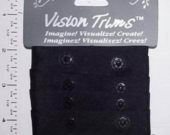 Plastic Snaps tape -  Black snaps tape - 1 Yard