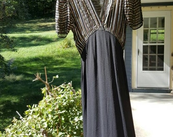Vintage 1930s 1940s Dress - Black Rayon and Metallic Striped Dress